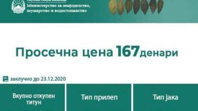 Photo of До денес откупени 2,8 милиони килограми тутун, по просечна цена од 167 денари